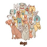 Group of dogs stock illustration