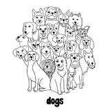 Group of dogs. Group of hand drawn dogs, standing in a circle, black and white Stock Images