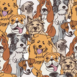 Group dogs seamless pattern color Stock Images