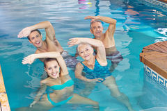 Group doing aqua fitness. Happy group doing aqua fitness class in a swimming pool Royalty Free Stock Photography