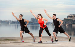 Group  doing exercise with resistance rubber Stock Photography