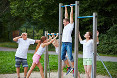 Group doing fitness training in nature Royalty Free Stock Images