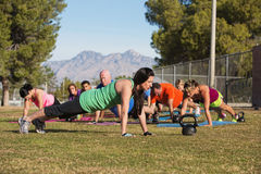 Group Doing Push Ups Royalty Free Stock Images