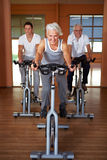 Group doing spinning exercises. Spinning class with senior people in a gym Royalty Free Stock Photo