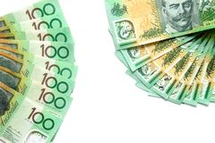 Group of 100 dollar Australian notes on white background have copy space royalty free stock images