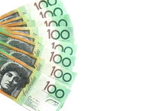 Group of 100 dollar Australian notes on white background have copy space for put text. Group of 100 dollar Australian notes green color order like fan shape on Stock Photo