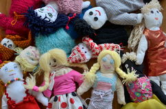 Group of dolls. Colorful group of handmade dolls Stock Photo