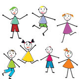 Group of doodle children having fun Stock Photo