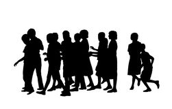 Group of pupils silhouette. Group of a dozen of children of school age walking together Stock Illustration