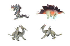 Group dragon toy on isolated Stock Image