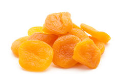 Apricot. Group of dried apricots isolated on white background stock photo