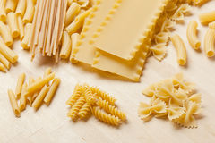 Group of dried Italian Pasta Royalty Free Stock Photography