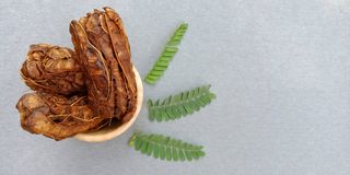 The group of dried tamarind stock image