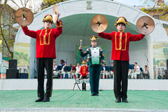 Group of drummers performs Stock Images