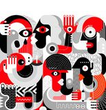 Group of Drunk People. Vector illustration. Modern abstract fine art painting. Red, black and grey royalty free illustration