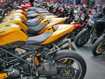 Group of Ducati Motorcycles at the Event in Front of Central World Department royalty free stock images