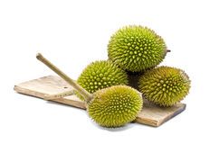 Group of Durian on plain wood Royalty Free Stock Image