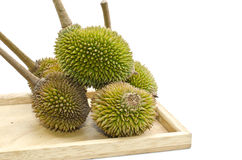 Group of Durian on plain wood Royalty Free Stock Photography
