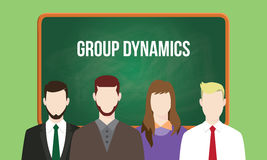 Group dynamics concept in a team illustration with text written on chalkboard. Vector Stock Images
