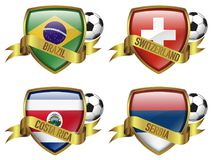 Group E 4 Countries flag with gold frame & ribbon. Group E world soccer championship, Brazil, Switzerland, Costa Rica, Serbia Stock Photo