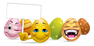 Group of Easter eggs characters and blank sign. Illustration of a group of Easter eggs characters and blank sign Stock Photography
