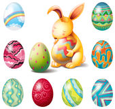 A group of Easter eggs and a sweet bunny Stock Photography