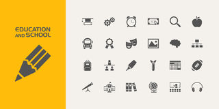 Group of education and school icons. Group of twenty education and school icons Royalty Free Stock Photos
