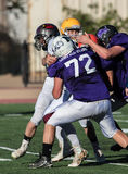 Group Effort. All star  football action in Oroville, California Royalty Free Stock Photography