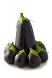 Group of eggplants on white background. Group od one large and many small eggplants (aubergines) isolated on white background Royalty Free Stock Photo