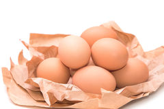 Group of eggs on brown paper Royalty Free Stock Photos
