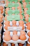 Group of eggs in carton box closeup market outdoor Royalty Free Stock Image