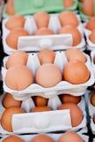 Group of eggs in carton box closeup market outdoor Royalty Free Stock Photography