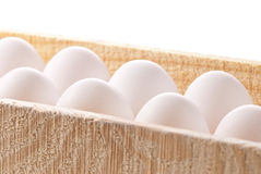 Group eggs in wooden package Royalty Free Stock Images