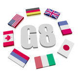 Group of Eight Flags Royalty Free Stock Images