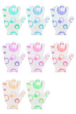 Group of eight hand bath sponge gloves with various colors circl Stock Photo