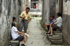Group of elder villagers, Anhui province, China royalty free stock photo
