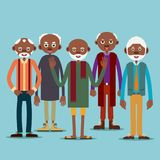 Group of elderly afro american men. Group of older afro american men standing next to each other. Illustration in flat style. Isolated Stock Image