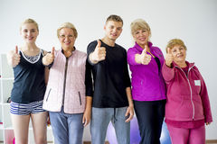 Group of elderly people doing exercises Royalty Free Stock Photo