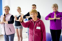 Group of elderly people doing exercises Royalty Free Stock Photography