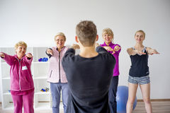 Group of elderly people doing exercises Stock Photography