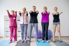 Group of elderly people doing exercises Stock Photo