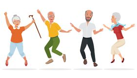 Group of elderly people together. Active and happy old senior jumping. Cartoon vector illustration. Group of elderly people together. Active and happy old Stock Photography