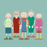 Group of elderly women. Group of older women standing next to each other. Illustration in flat style. Isolated. Vector Stock Photography