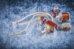 Group of electric devices on metallic background vintage electri Royalty Free Stock Photo
