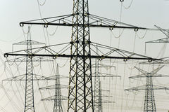 Group of electric power poles Stock Photography