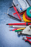 Group of electrical equipment on metallic surface construction c Stock Image