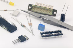 Group of electronic components Stock Image