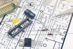 Group of electronic components Royalty Free Stock Images