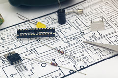 Group of electronic components Royalty Free Stock Photo