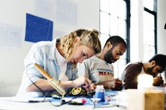 Group of electronic technician workshop stock photo